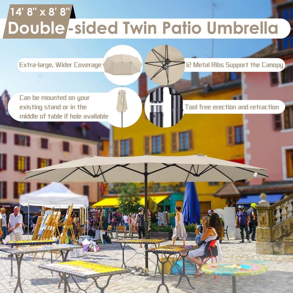 15ft-Double-sided-Patio-Twin-Umbrella-with-Crank-Outdoor-Garden-Market-Sun-Shade thumbnail 39