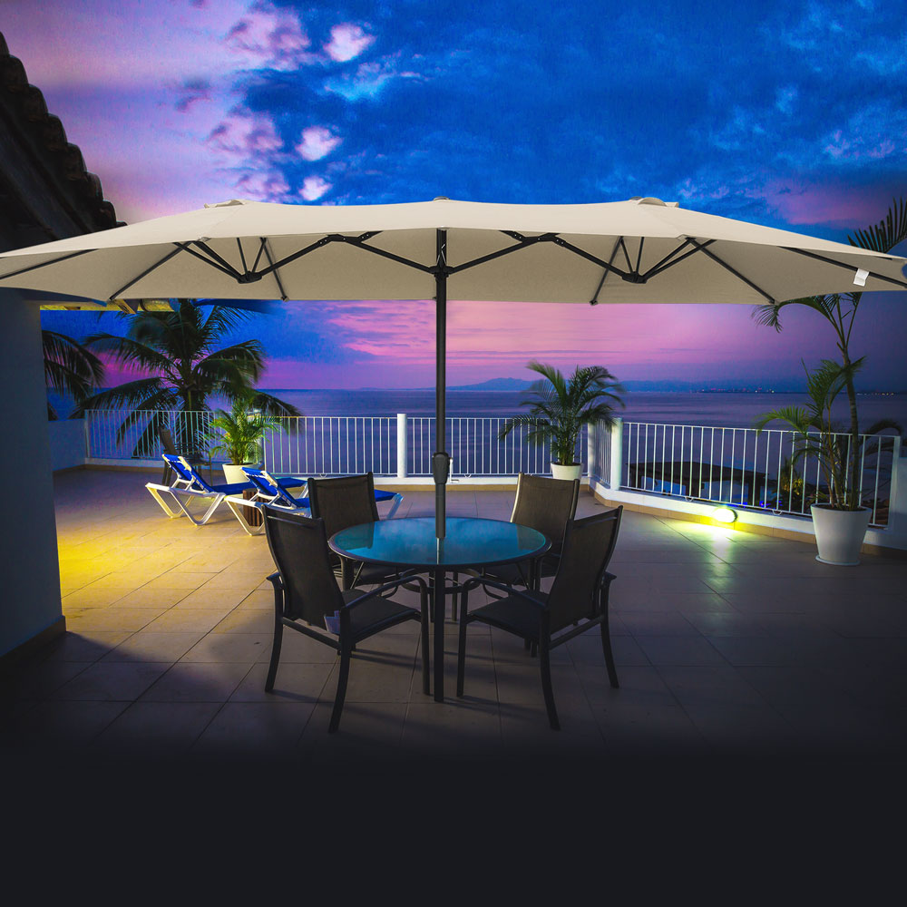 Outdoor-Patio-Umbrella-Aluminum-8ft-9ft-10ft-13ft-Common-LED-Option-Beach-Garden thumbnail 160