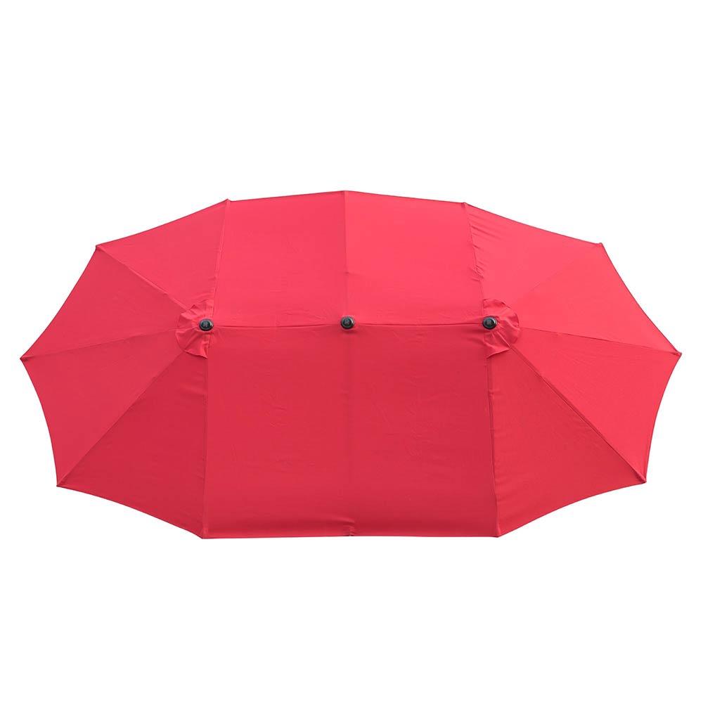 thumbnail 47 - 15ft Patio Twin Umbrella Double-sided Market Crank Outdoor Garden Parasol Shade
