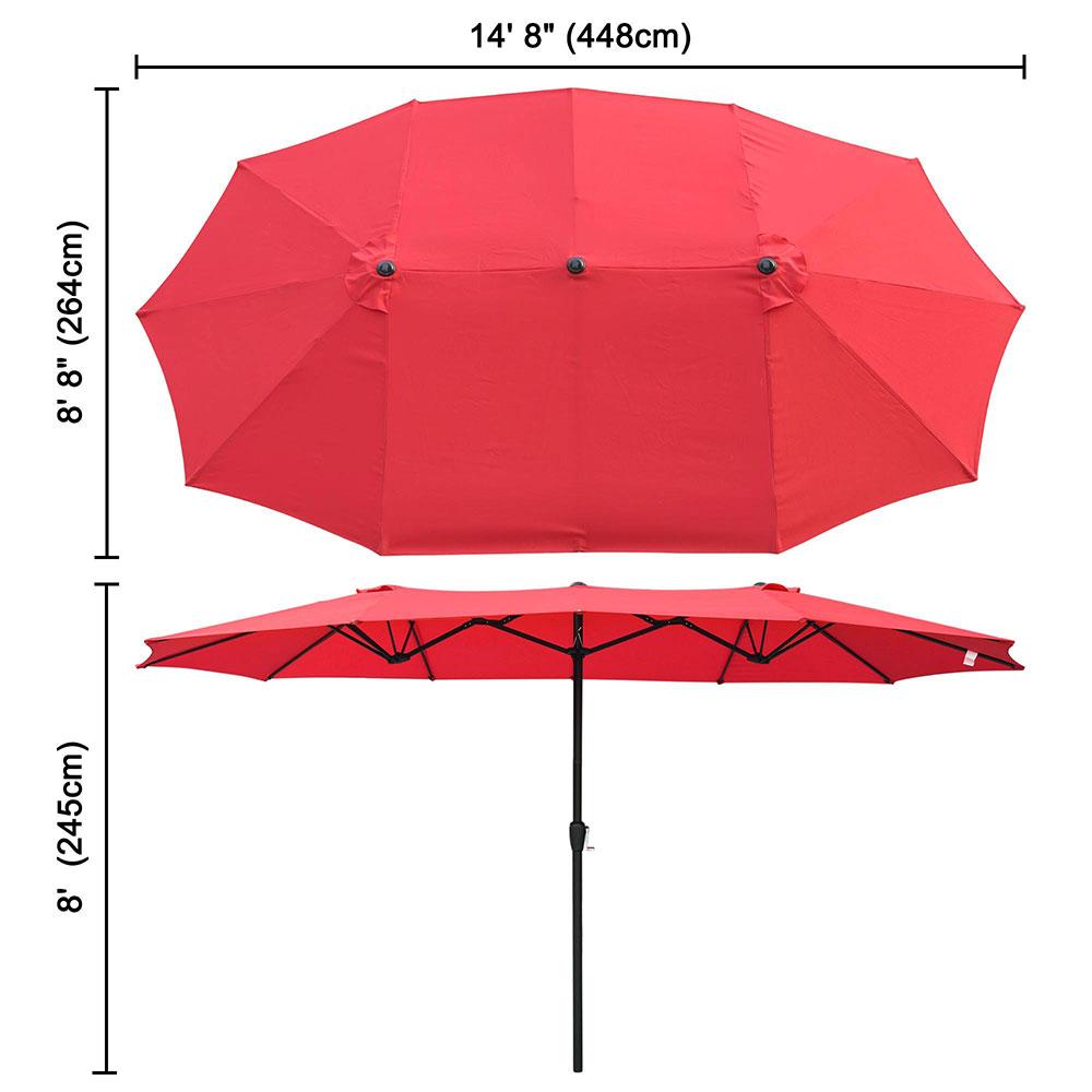 Outdoor-Patio-Umbrella-Aluminum-8ft-9ft-10ft-13ft-Common-LED-Option-Beach-Garden thumbnail 158