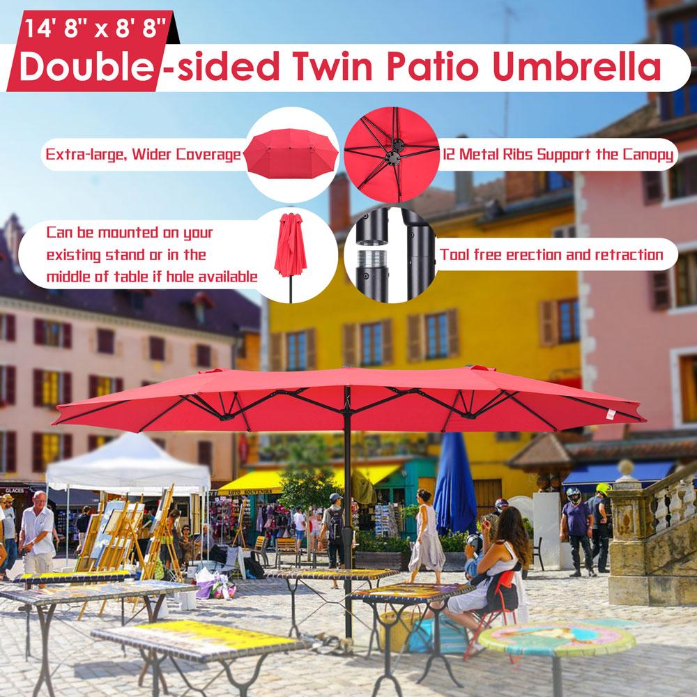 15ft-Double-sided-Patio-Twin-Umbrella-with-Crank-Outdoor-Garden-Market-Sun-Shade thumbnail 27