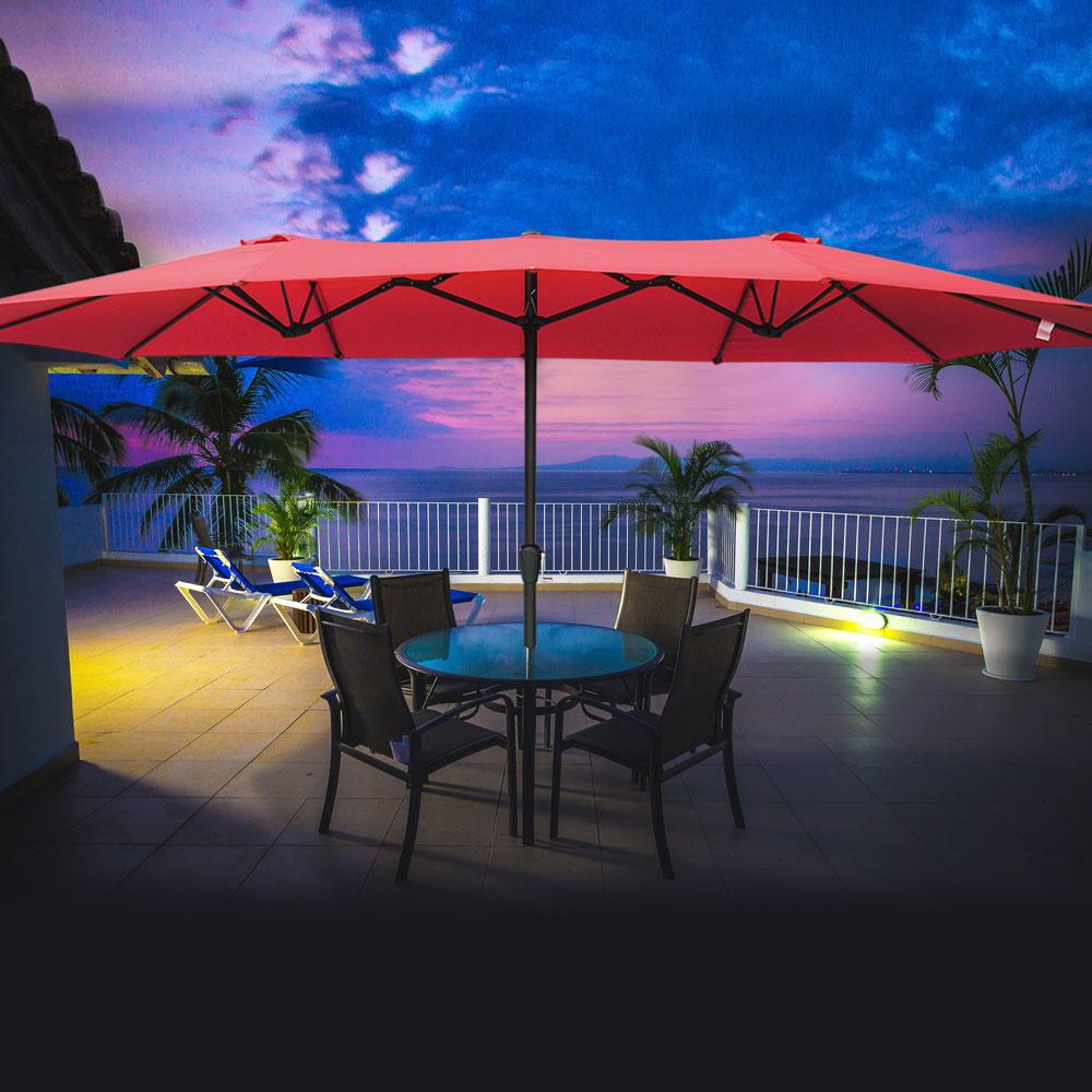 Outdoor-Patio-Umbrella-Aluminum-8ft-9ft-10ft-13ft-Common-LED-Option-Beach-Garden thumbnail 150