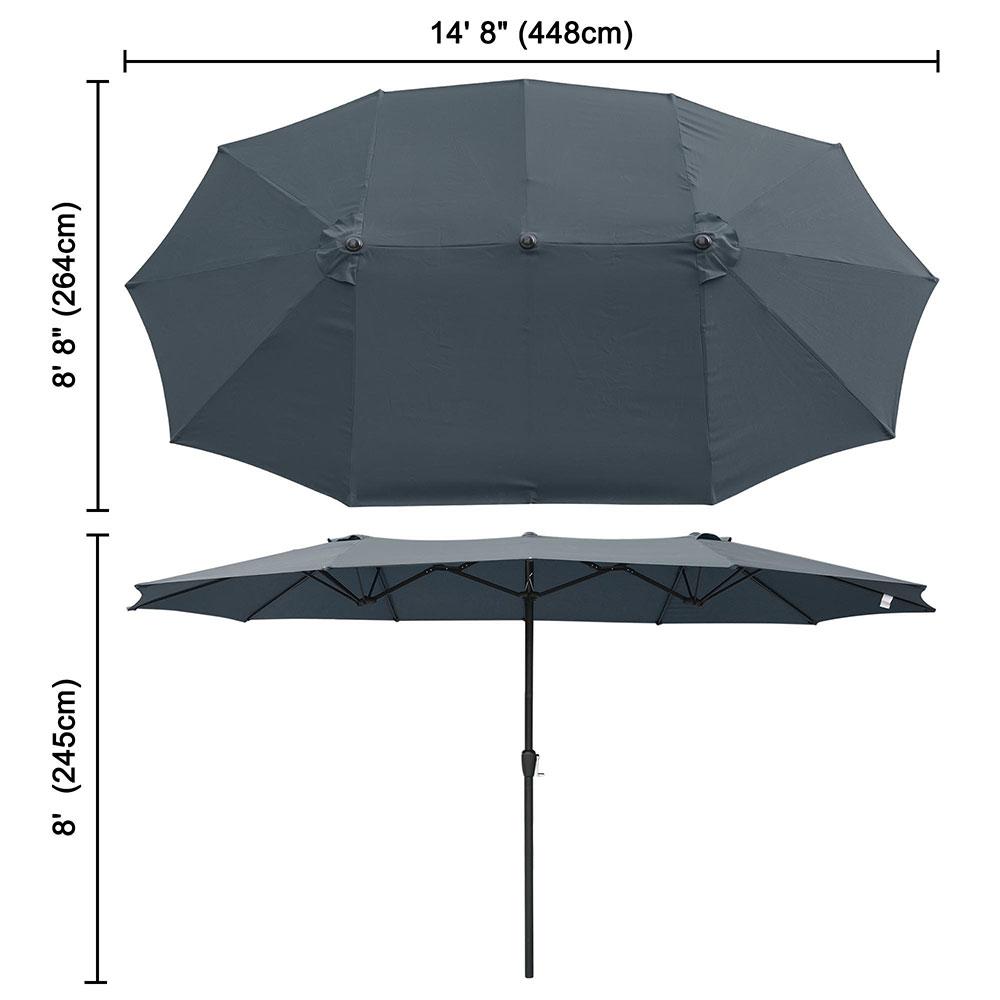 Outdoor-Patio-Umbrella-Aluminum-8ft-9ft-10ft-13ft-Common-LED-Option-Beach-Garden thumbnail 146
