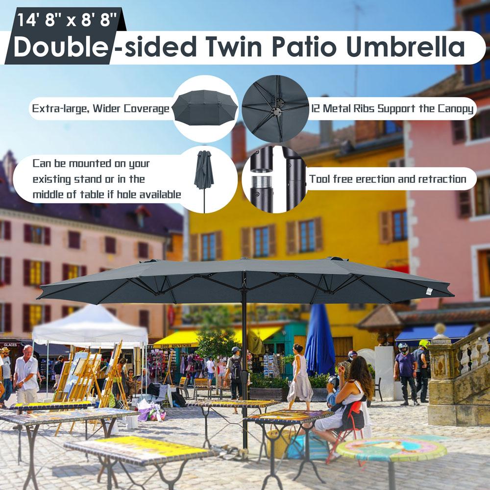 15ft-Double-sided-Patio-Twin-Umbrella-with-Crank-Outdoor-Garden-Market-Sun-Shade thumbnail 15