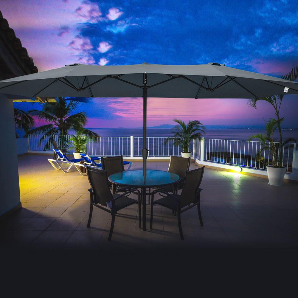 15ft-Double-sided-Patio-Twin-Umbrella-with-Crank-Outdoor-Garden-Market-Sun-Shade thumbnail 20