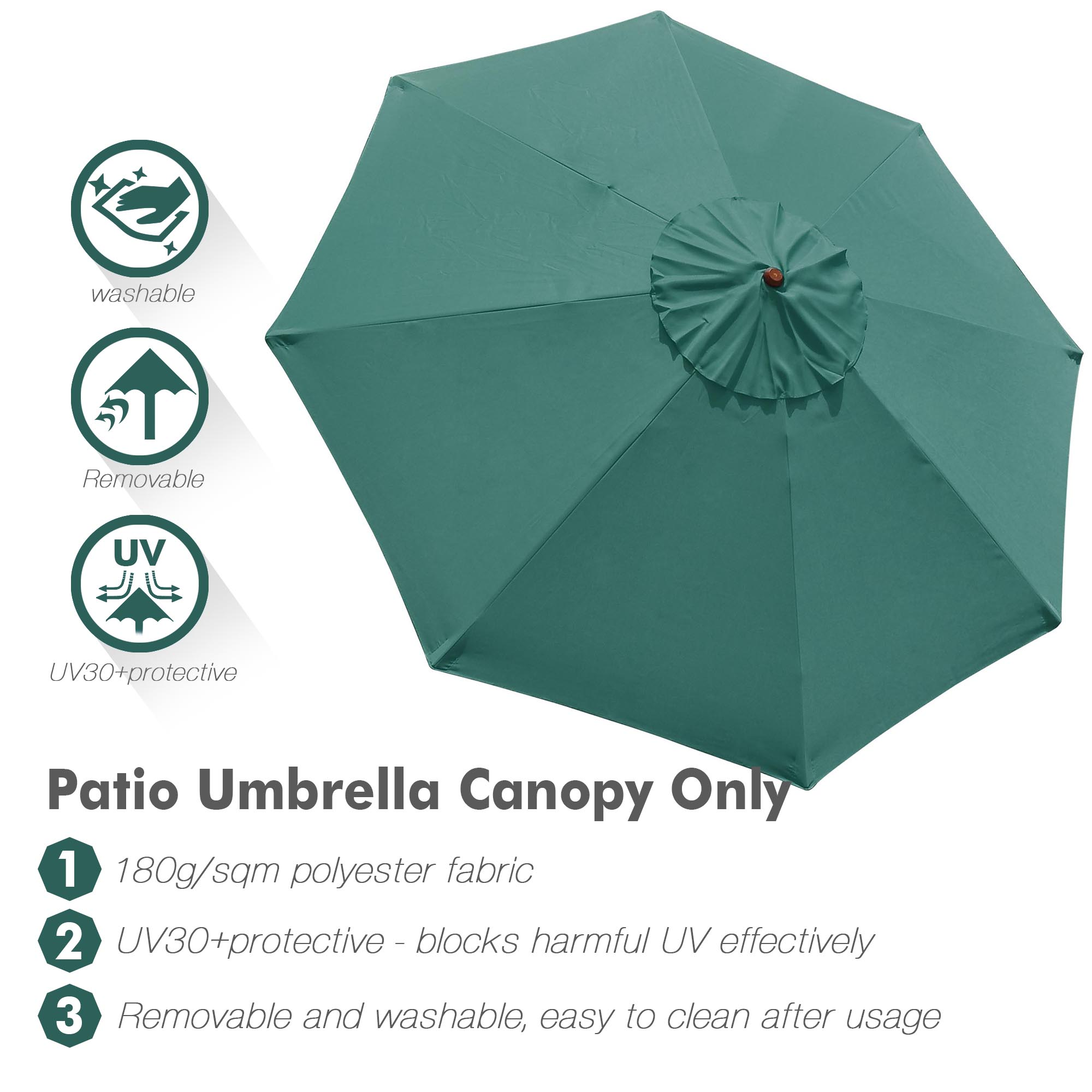 thumbnail 59 - 8'/9'/10'/13' Umbrella Replacement Canopy 8 Rib Outdoor Patio Top Cover Only Opt