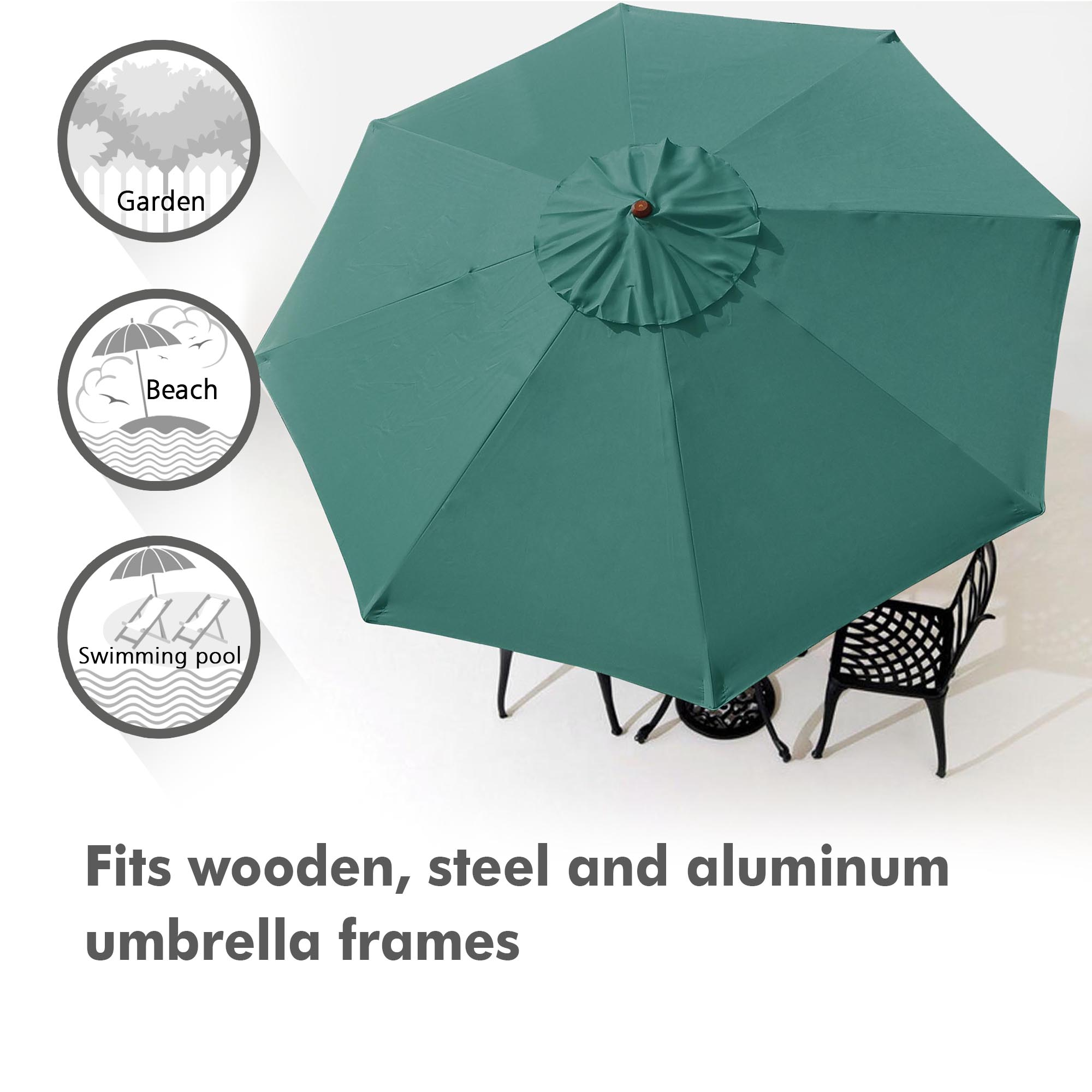 thumbnail 60 - 8'/9'/10'/13' Umbrella Replacement Canopy 8 Rib Outdoor Patio Top Cover Only Opt