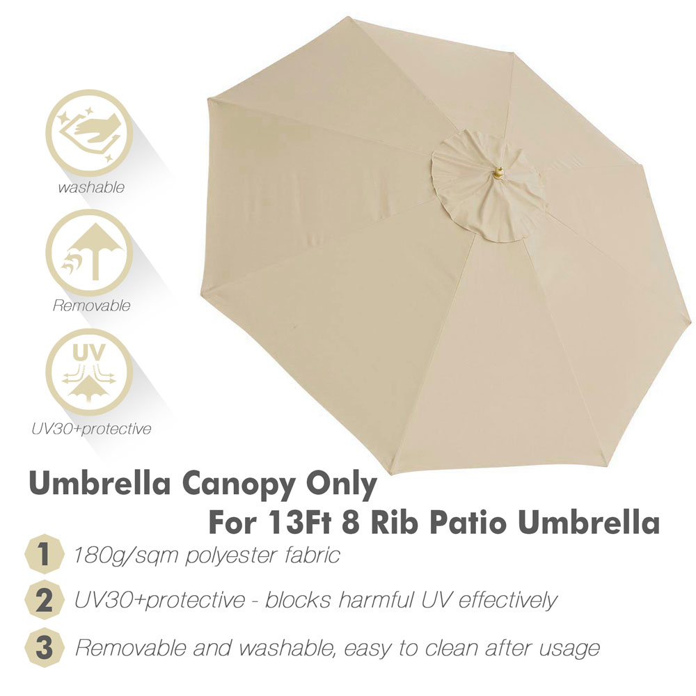 thumbnail 292 - 8'/9'/10'/13' Umbrella Replacement Canopy 8 Rib Outdoor Patio Top Cover Only Opt
