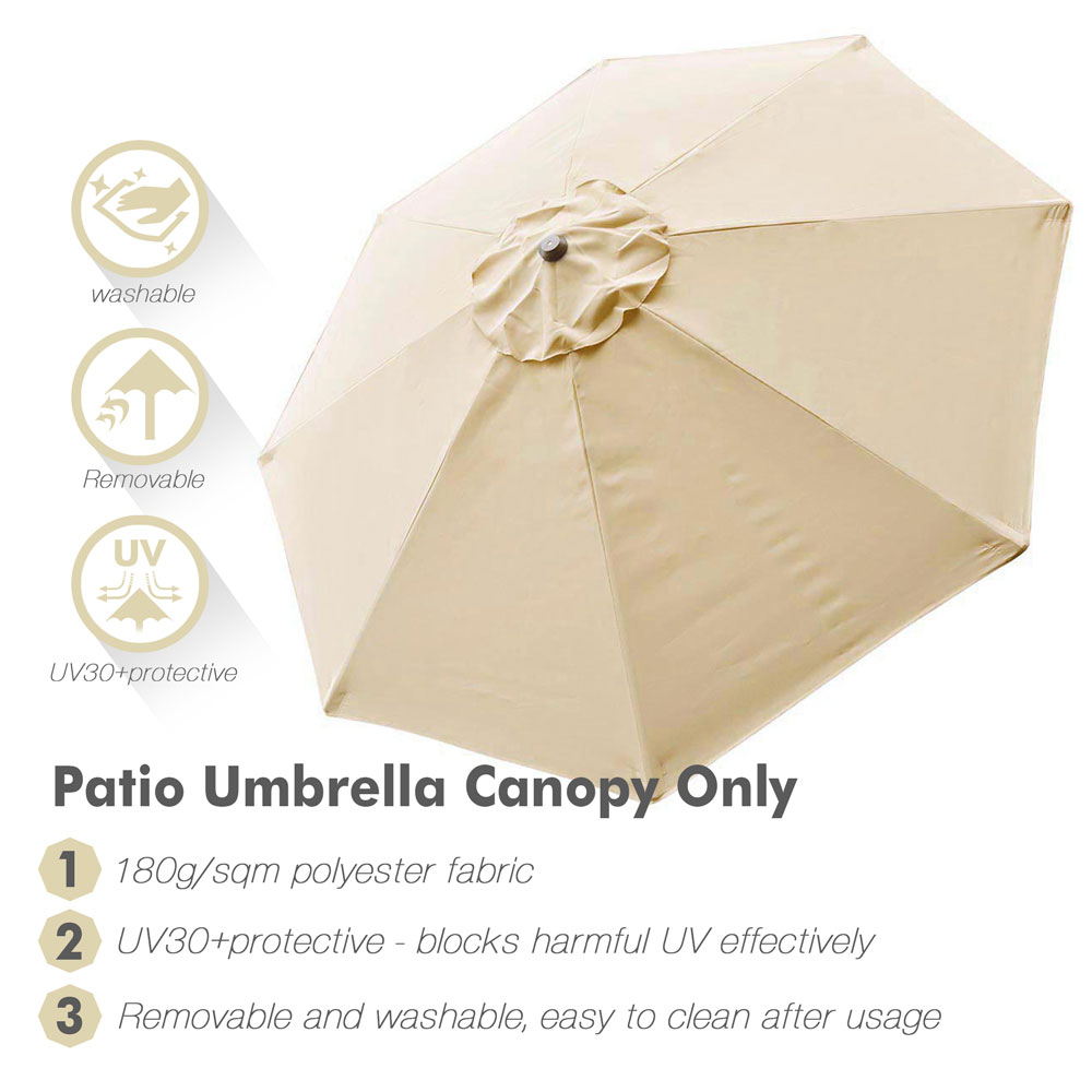 thumbnail 330 - 8'/9'/10'/13' Umbrella Replacement Canopy 8 Rib Outdoor Patio Top Cover Only Opt