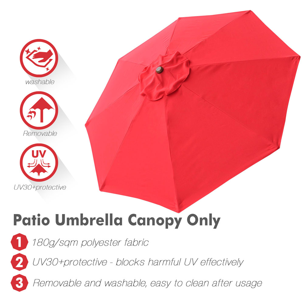 thumbnail 398 - 8'/9'/10'/13' Umbrella Replacement Canopy 8 Rib Outdoor Patio Top Cover Only Opt