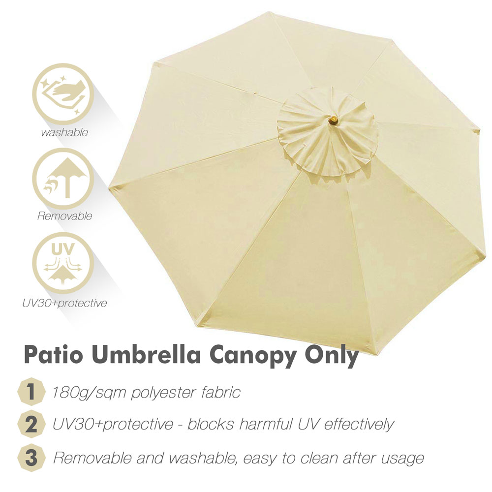 thumbnail 431 - 8'/9'/10'/13' Umbrella Replacement Canopy 8 Rib Outdoor Patio Top Cover Only Opt