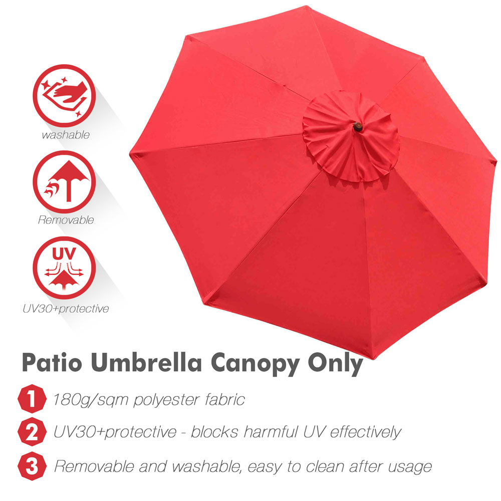 thumbnail 505 - 8'/9'/10'/13' Umbrella Replacement Canopy 8 Rib Outdoor Patio Top Cover Only Opt