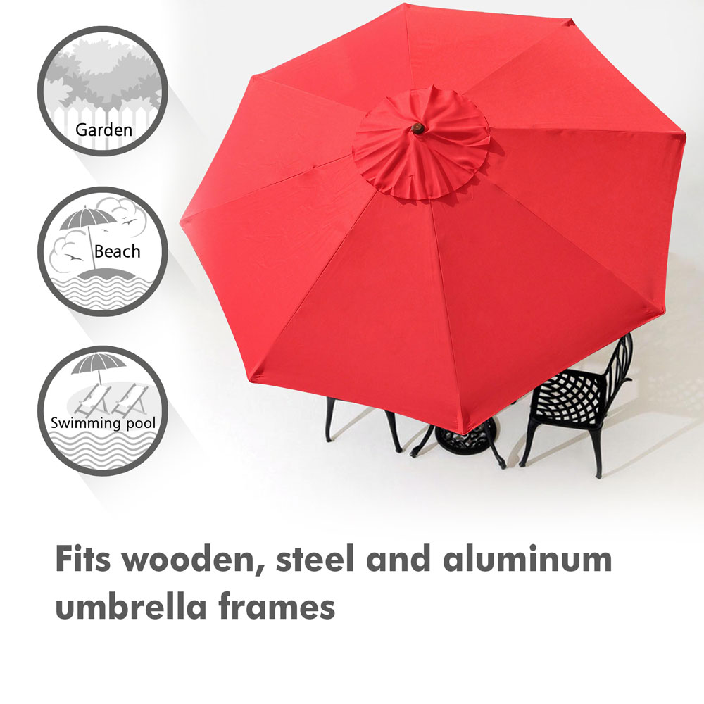 thumbnail 502 - 8'/9'/10'/13' Umbrella Replacement Canopy 8 Rib Outdoor Patio Top Cover Only Opt