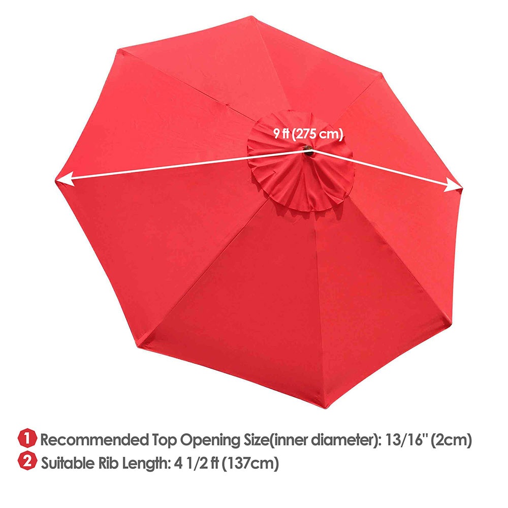 thumbnail 506 - 8'/9'/10'/13' Umbrella Replacement Canopy 8 Rib Outdoor Patio Top Cover Only Opt
