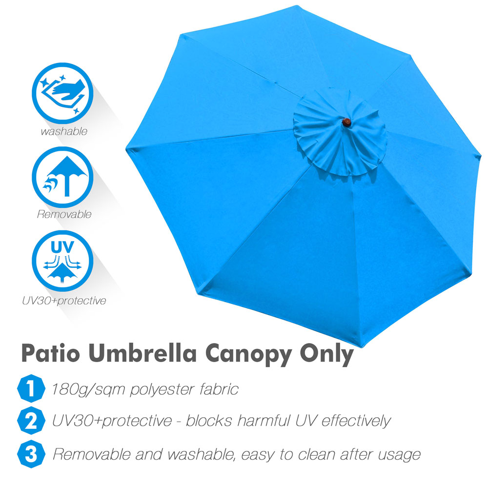 thumbnail 437 - 8'/9'/10'/13' Umbrella Replacement Canopy 8 Rib Outdoor Patio Top Cover Only Opt