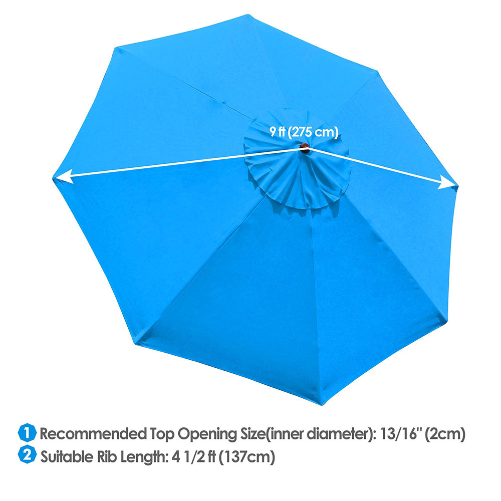 thumbnail 438 - 8'/9'/10'/13' Umbrella Replacement Canopy 8 Rib Outdoor Patio Top Cover Only Opt