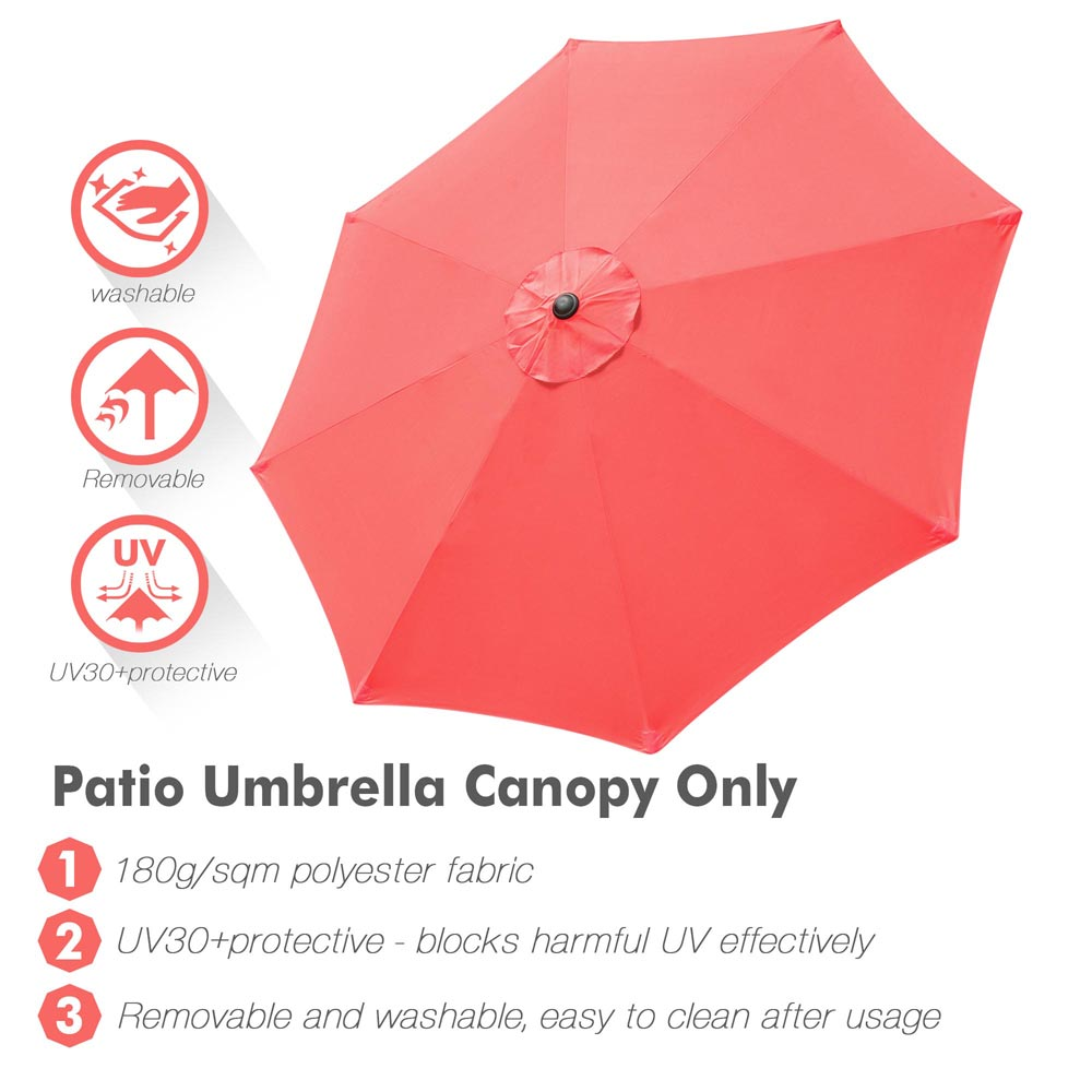 thumbnail 490 - 8'/9'/10'/13' Umbrella Replacement Canopy 8 Rib Outdoor Patio Top Cover Only Opt