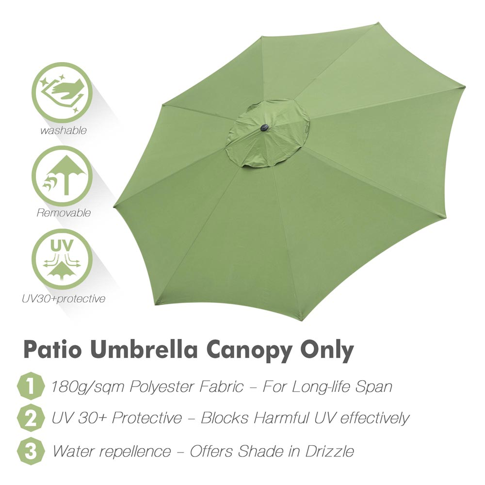 thumbnail 309 - 8'/9'/10'/13' Umbrella Replacement Canopy 8 Rib Outdoor Patio Top Cover Only Opt