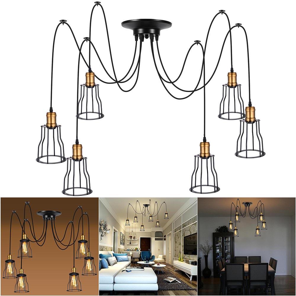 Vintage Industrial Retro Metal Cage Spider Pendant Light Chandelier Room Ceiling On Wiring Led Lights