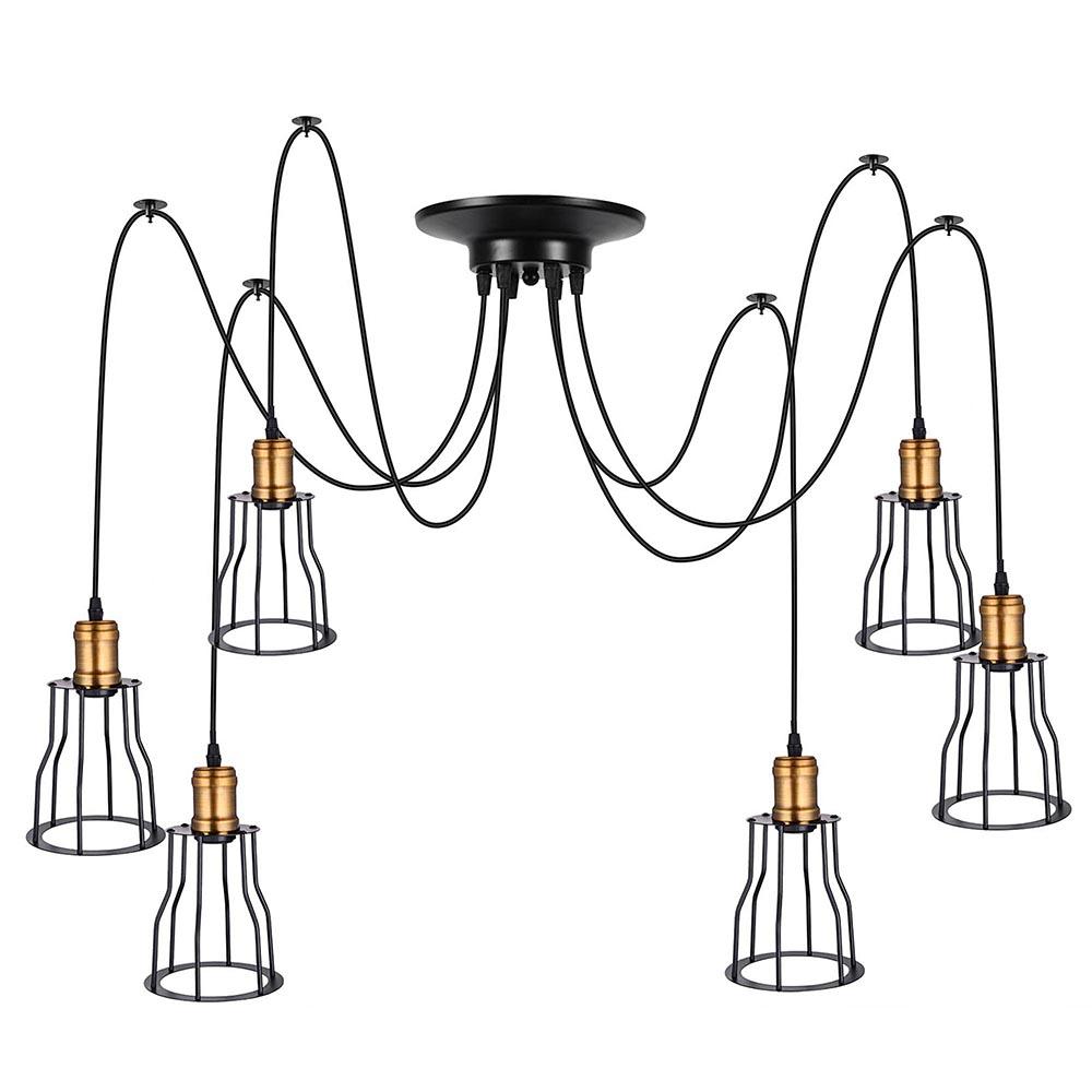 vintage industrial retro metal cage spider pendant light
