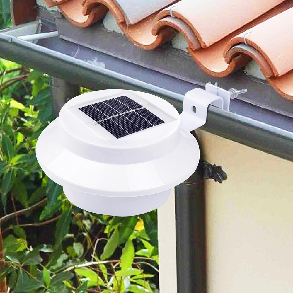 2Pcs LED Solar Power Automatic Gutter Roof Hanging Night Light For Outdoor