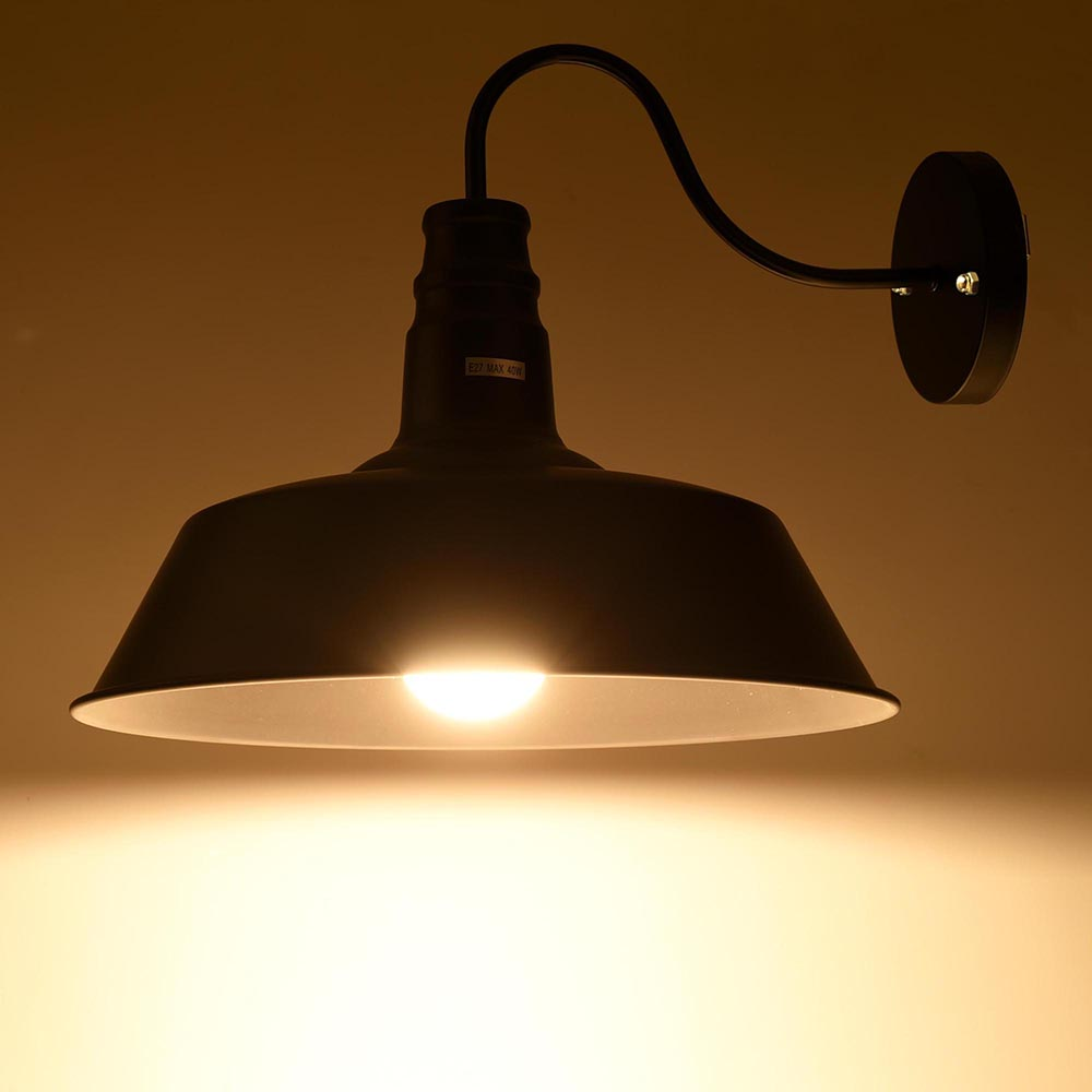Old Fashioned Metal Lamp Shade: 14in Vintage Idustrial Barn Style Indoor Wall Lamp Sconce