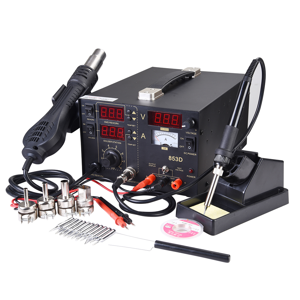 853d 3in1 Soldering Rework Station Smd Solder Iron Hot Air
