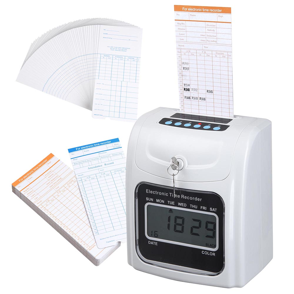 Employee Attendance Punch Time Clock Payroll Recorder Lcd