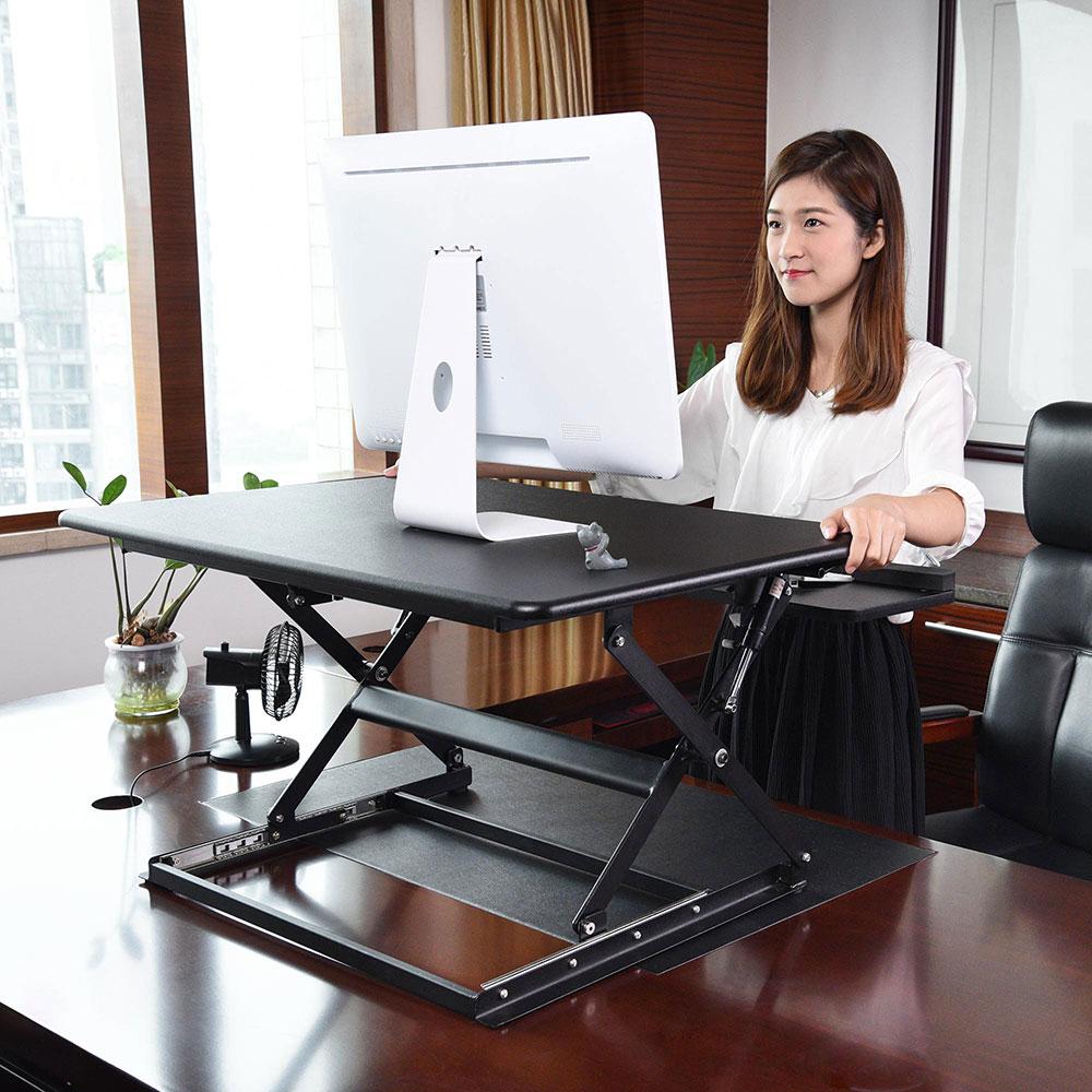 Details About Adjustable Height Stand Up Desk Computer Workstation Lift  Monitor Riser Laptop