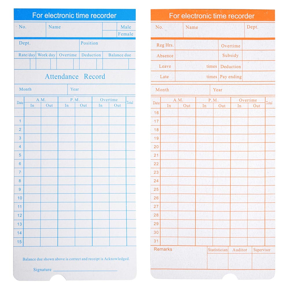 200x monthly time clock cards timecard for employee