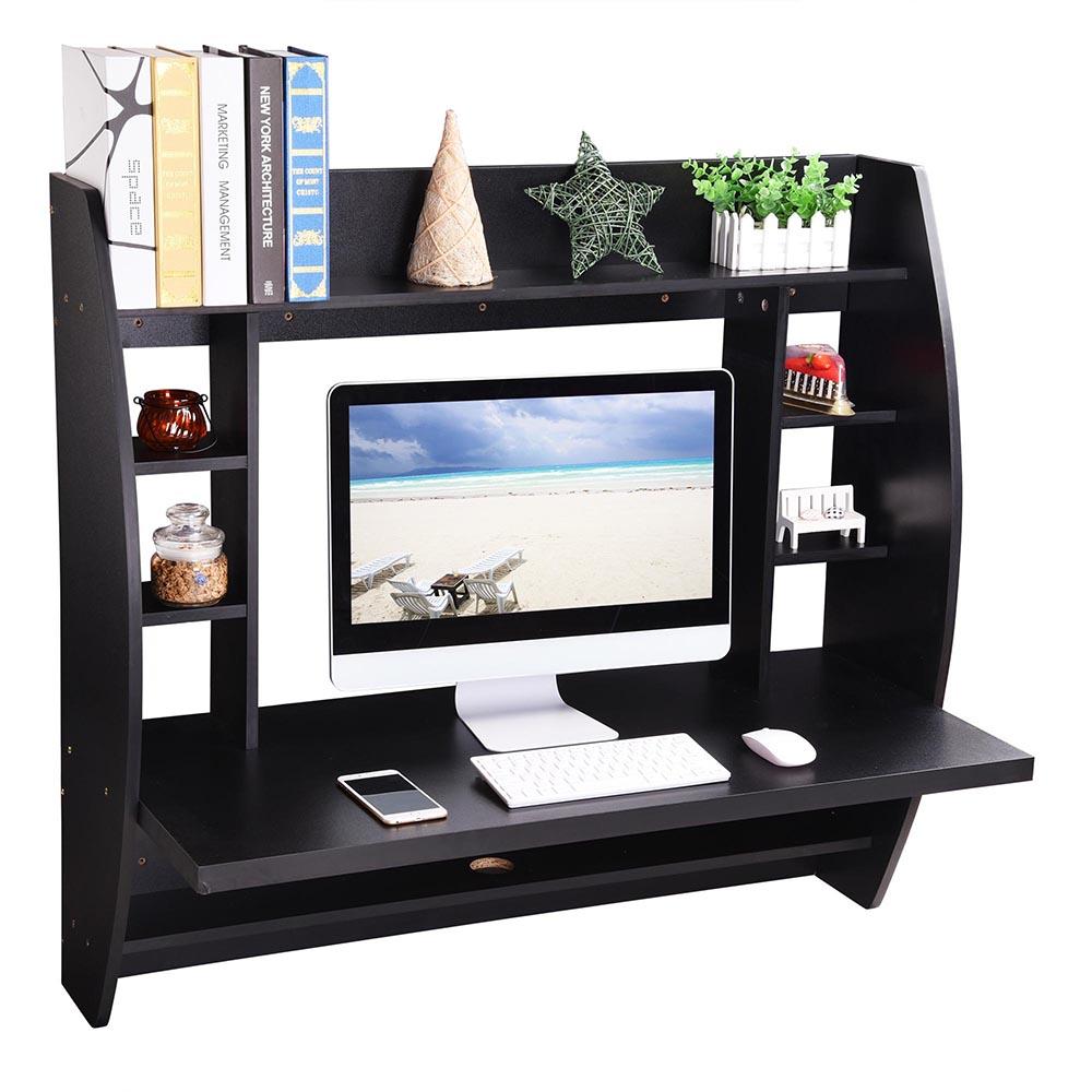 Wall Mounted Floating Computer Desk Shelf Storage Laptop