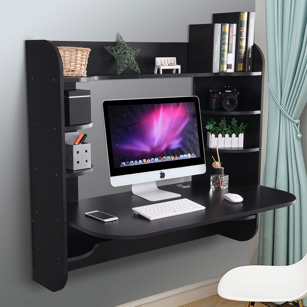 newest d4476 7c41d Details about Coner Desk Floating Wall Mounted Computer Laptop Table  Bookshelf Storage Black