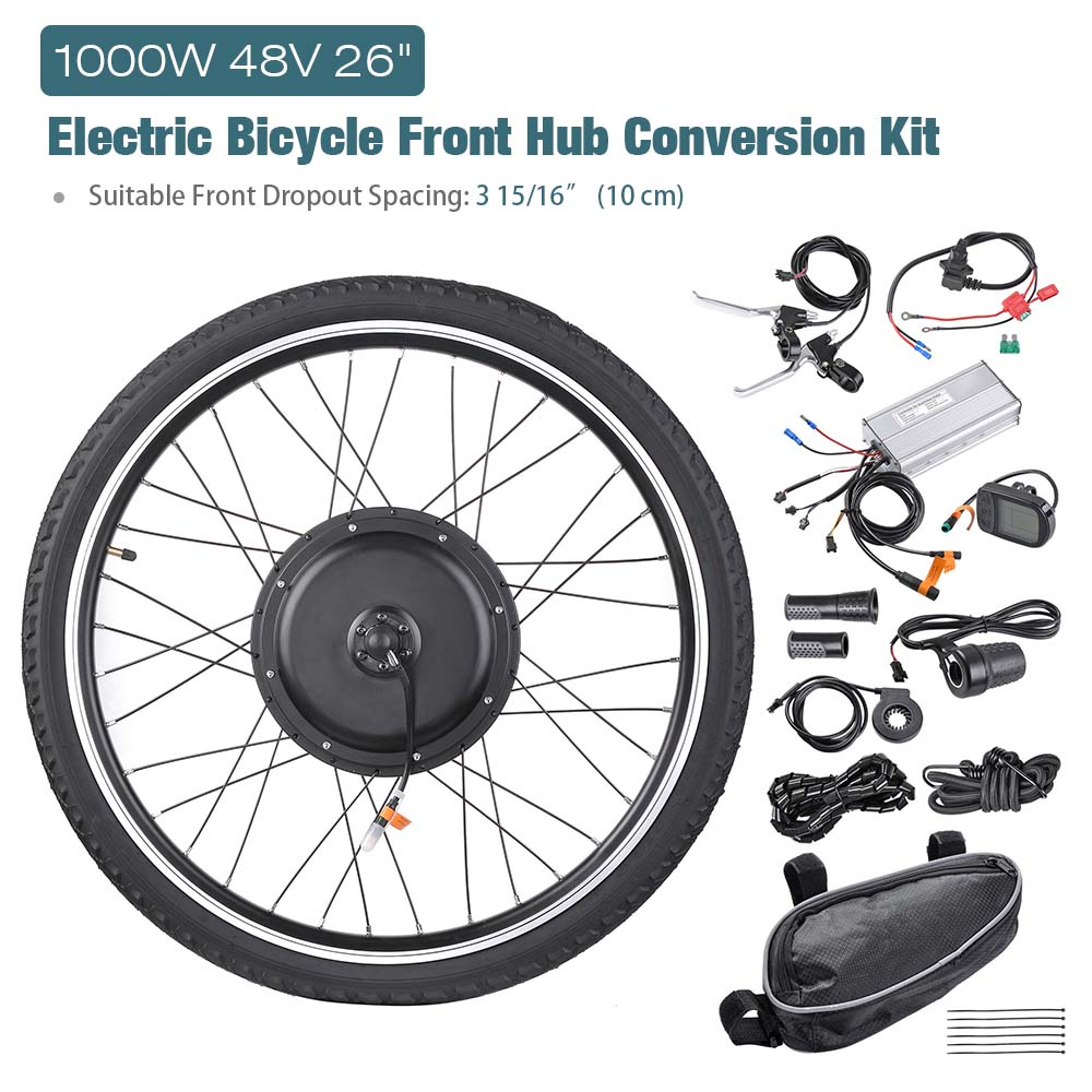 """26/"""" 1000W Electric Bicycle Conversion Kit Front Rear Wheel E-Bike Cycling w// LCD"""