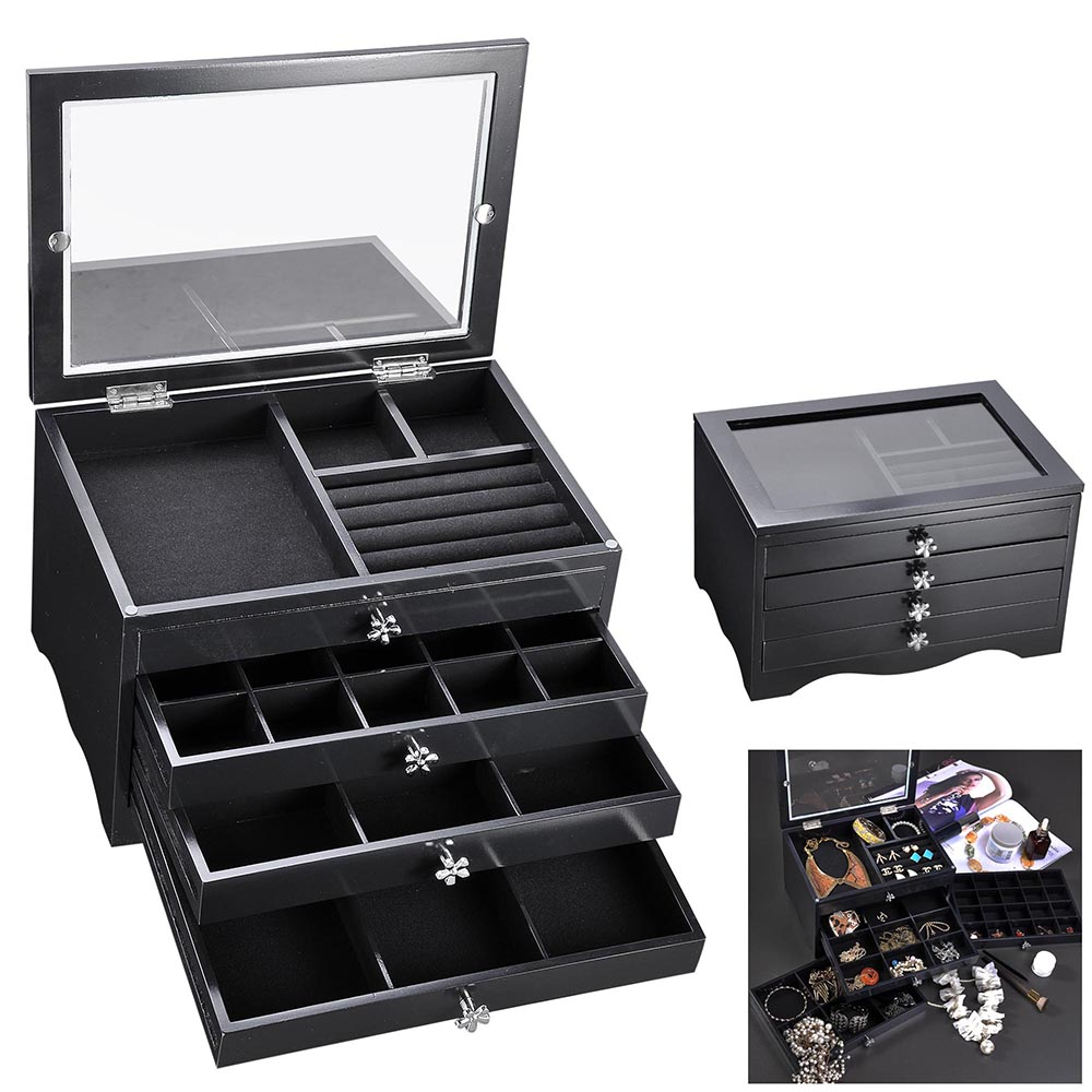 Jewelry Box Ring Necklace Display Storage Organizer Travel Case