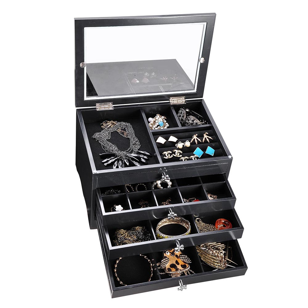 jewelry storage box case built in mirror watch ring earring necklace organizer ebay. Black Bedroom Furniture Sets. Home Design Ideas
