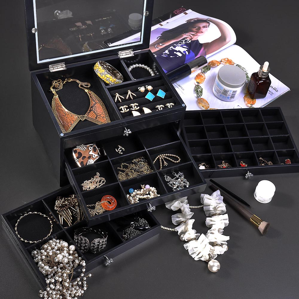 Jewelry-Storage-Box-Case-Built-in-Mirror-Watch-Ring-Earring-Necklace-Organizer thumbnail 52