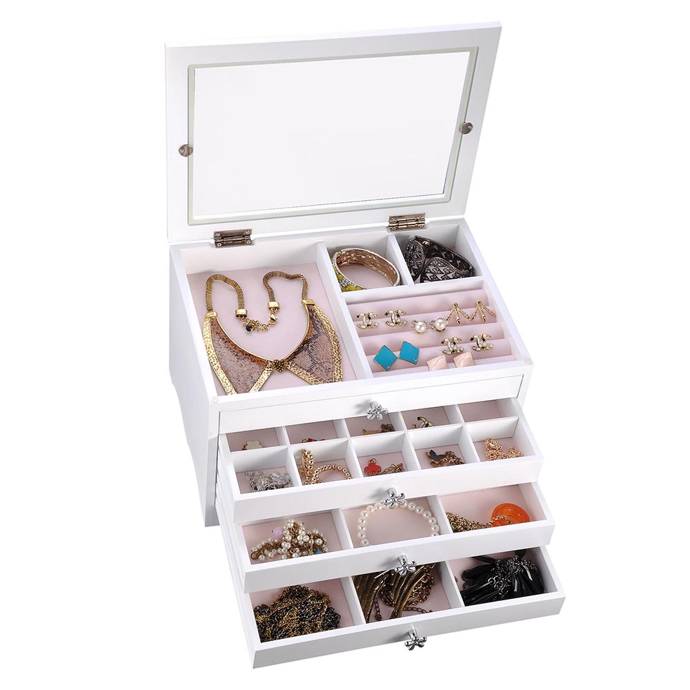 Jewelry-Storage-Box-Case-Built-in-Mirror-Watch-Ring-Earring-Necklace-Organizer thumbnail 60
