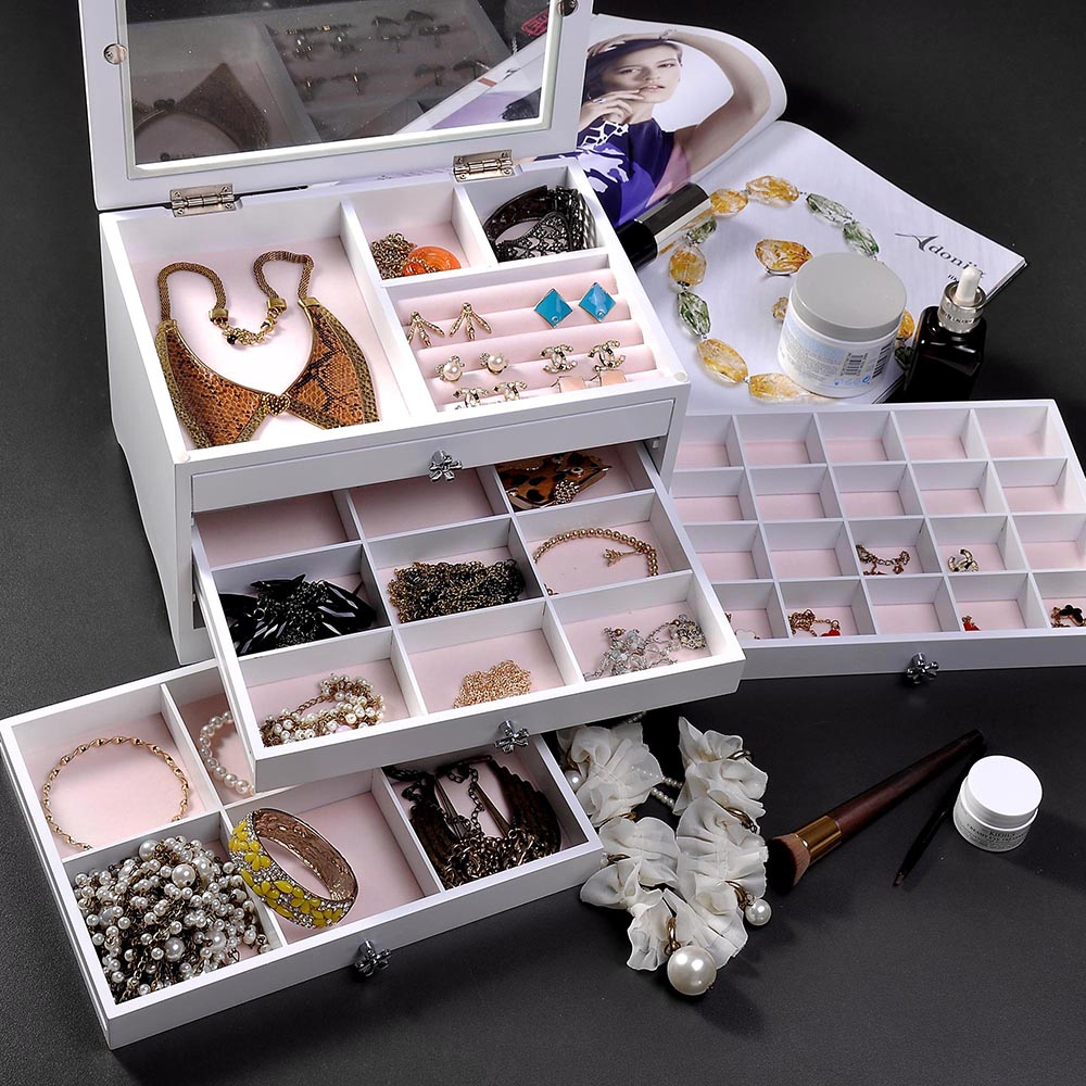 Jewelry-Storage-Box-Case-Built-in-Mirror-Watch-Ring-Earring-Necklace-Organizer thumbnail 61