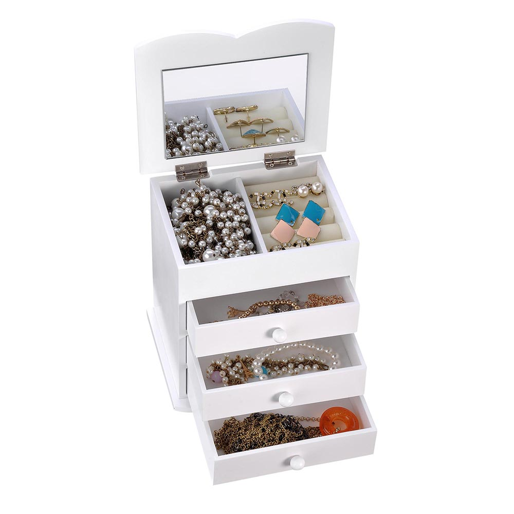 Jewelry-Storage-Box-Case-Built-in-Mirror-Watch-Ring-Earring-Necklace-Organizer thumbnail 42