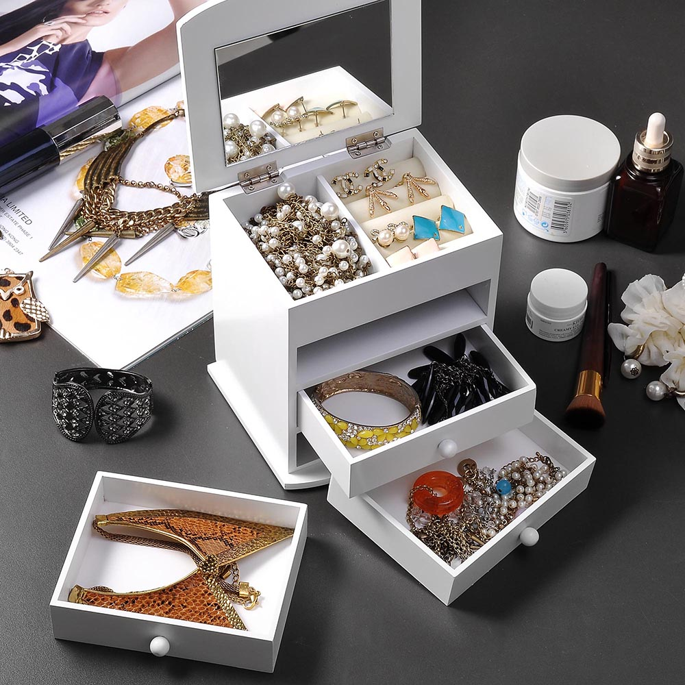 Jewelry-Storage-Box-Case-Built-in-Mirror-Watch-Ring-Earring-Necklace-Organizer thumbnail 43