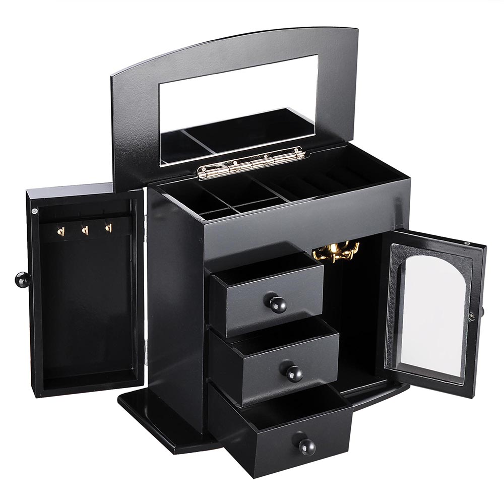 Jewelry-Storage-Box-Case-Built-in-Mirror-Watch-Ring-Earring-Necklace-Organizer thumbnail 11