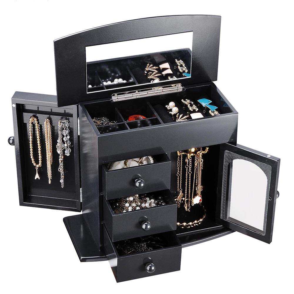 Jewelry-Storage-Box-Case-Built-in-Mirror-Watch-Ring-Earring-Necklace-Organizer thumbnail 15