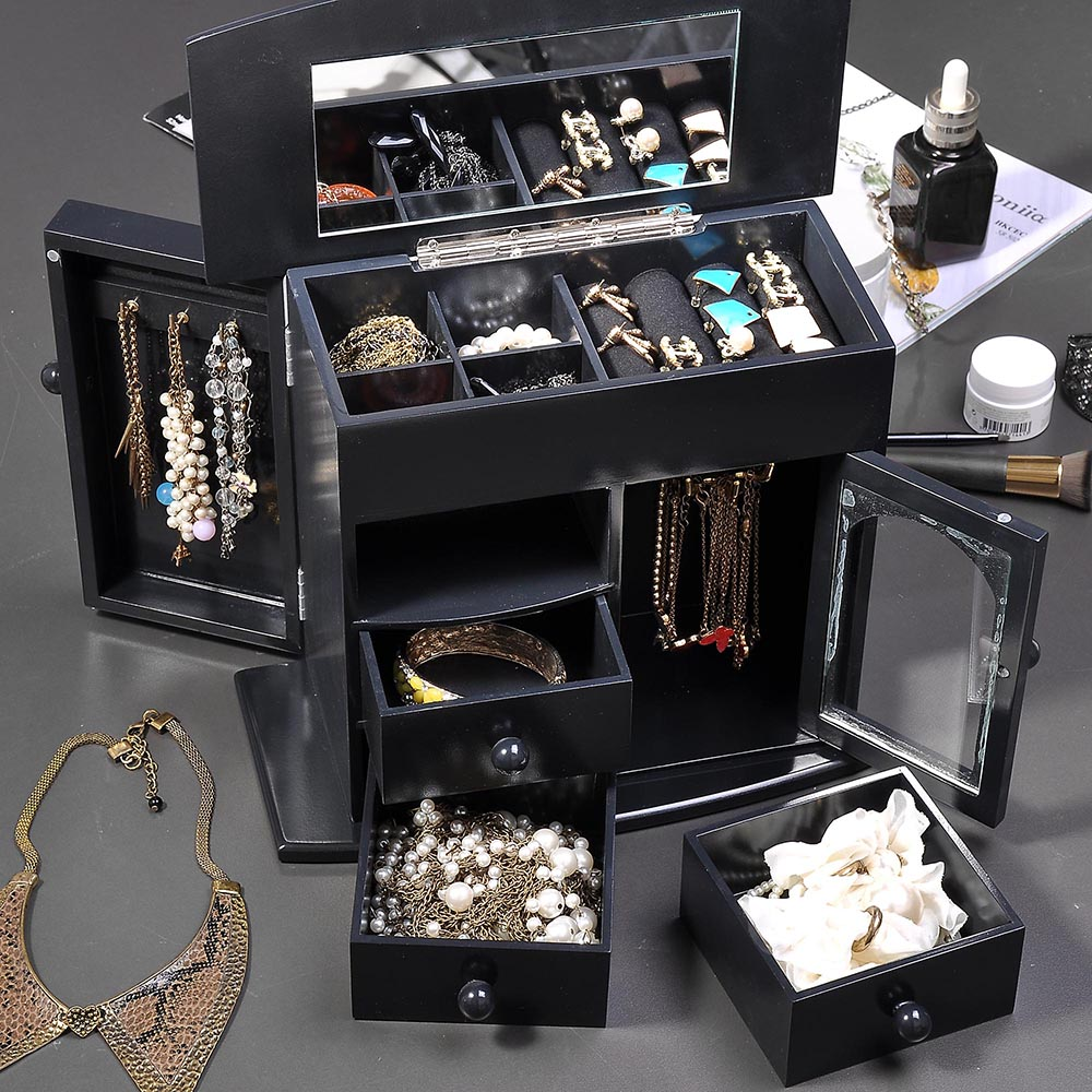 Jewelry-Storage-Box-Case-Built-in-Mirror-Watch-Ring-Earring-Necklace-Organizer thumbnail 16