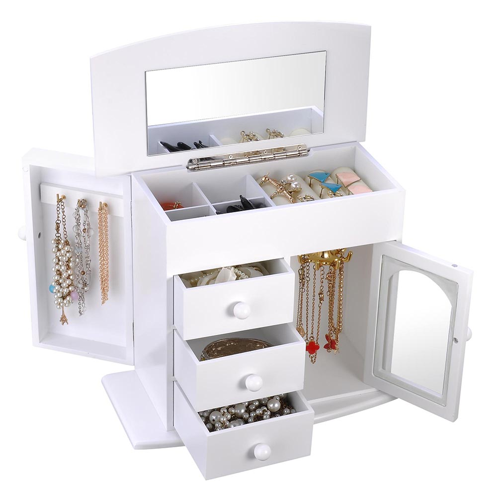 Jewelry-Storage-Box-Case-Built-in-Mirror-Watch-Ring-Earring-Necklace-Organizer thumbnail 24