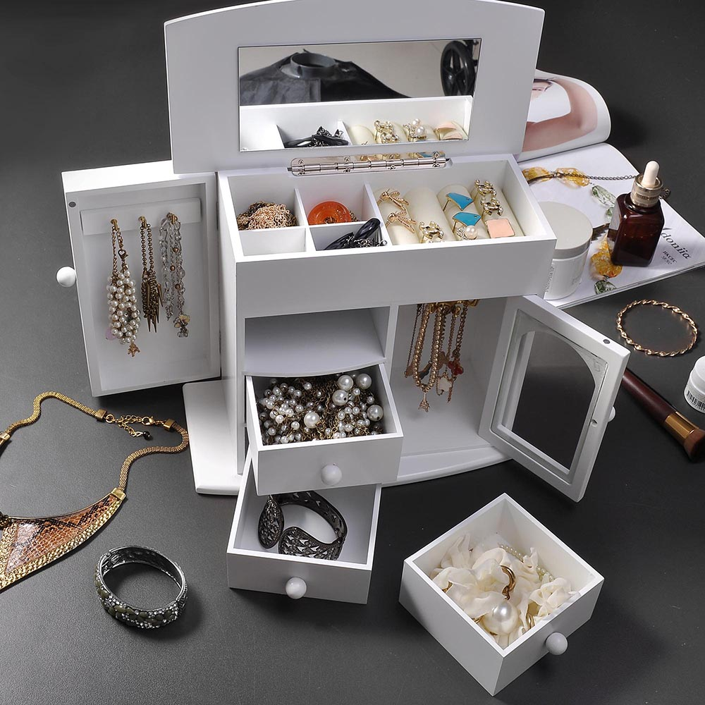 Jewelry-Storage-Box-Case-Built-in-Mirror-Watch-Ring-Earring-Necklace-Organizer thumbnail 25