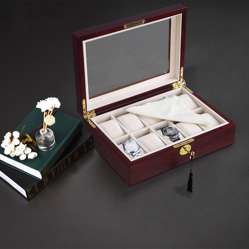 thumbnail 15 - 10 Slot Walnut / Ebony Wood Watch Display Case Glass Top Jewelry Storage Box