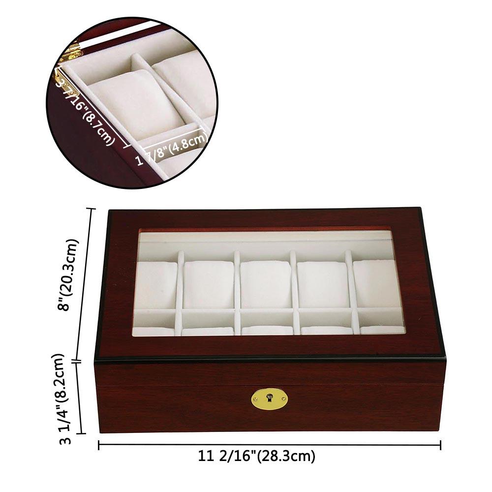thumbnail 14 - 10 Slot Walnut / Ebony Wood Watch Display Case Glass Top Jewelry Storage Box