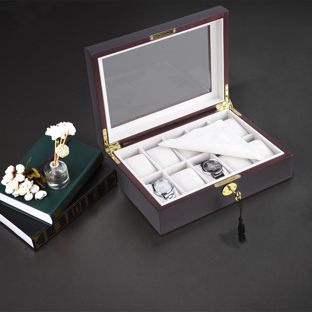 thumbnail 9 - 10 Slot Walnut / Ebony Wood Watch Display Case Glass Top Jewelry Storage Box