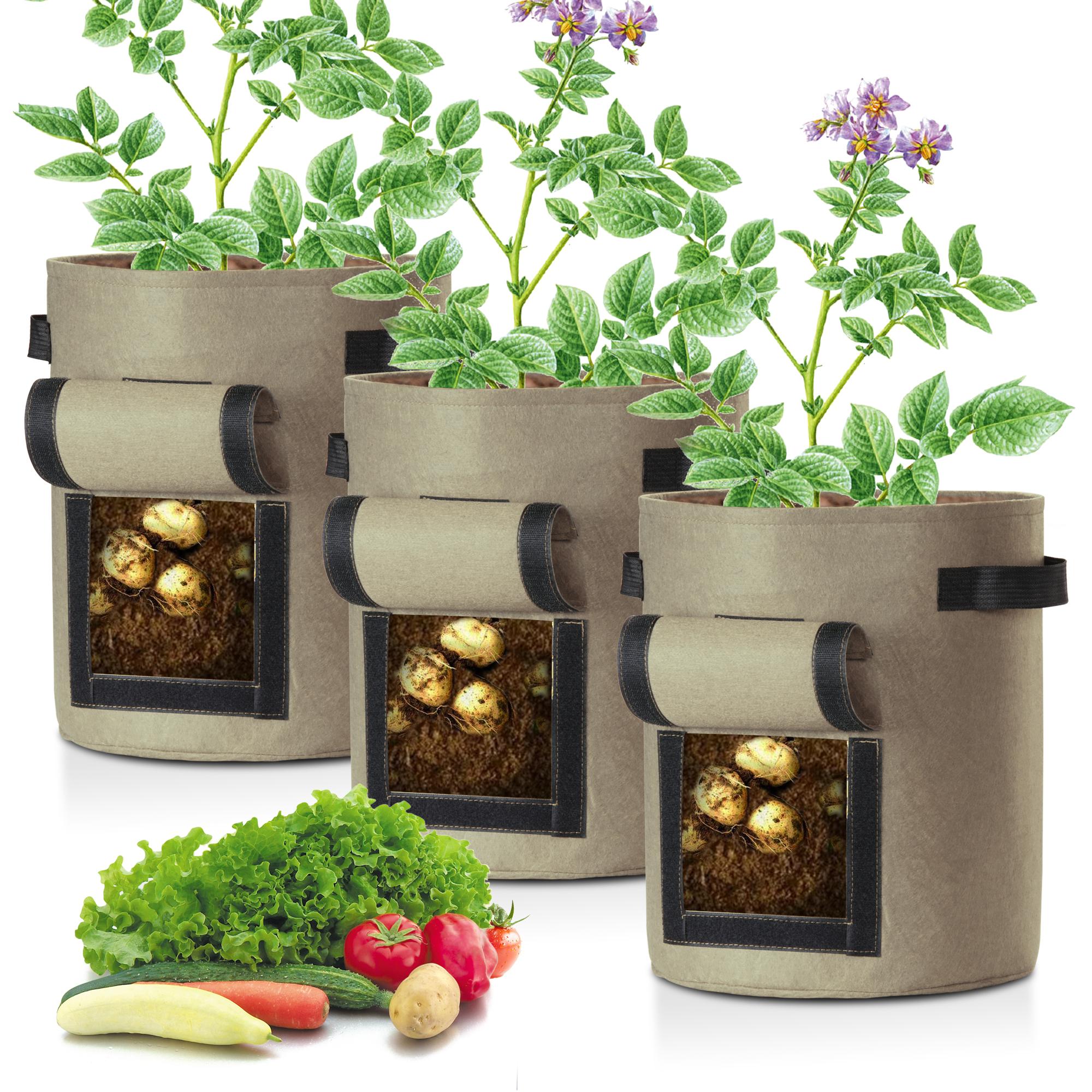 2 Packs LAGarden 5 Gallon Potato Planting Bag Observation Harvest Window Yard