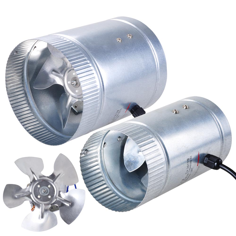 """Inline Blower Fan 4/"""" 6/"""" 8/"""" Inch Duct Booster Exhaust Cooling Vent Variable Sizes"""